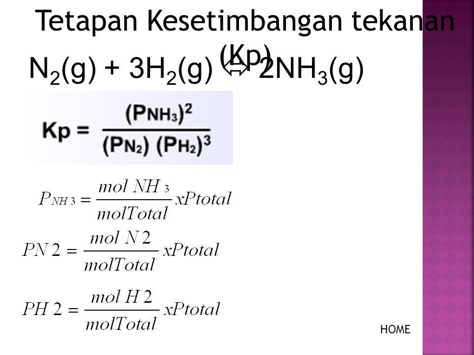 Tekanan parsial gas dirumuskan dengan : Untuk reaksi kesetimbangan gas 2 A (g) + B (g) ↔ 2C (g), HOME