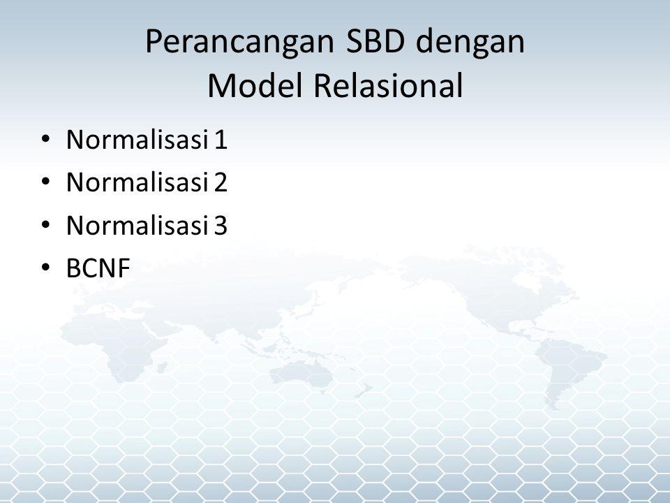 Perancangan SBD dengan Model Relasional Normalisasi 1 Normalisasi 2 Normalisasi 3 BCNF