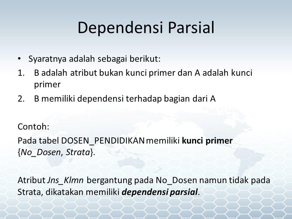 Dependensi Parsial Syaratnya adalah sebagai berikut: 1.B adalah atribut bukan kunci primer dan A adalah kunci primer 2.B memiliki dependensi terhadap bagian dari A Contoh: Pada tabel DOSEN_PENDIDIKAN memiliki kunci primer {No_Dosen, Strata}.