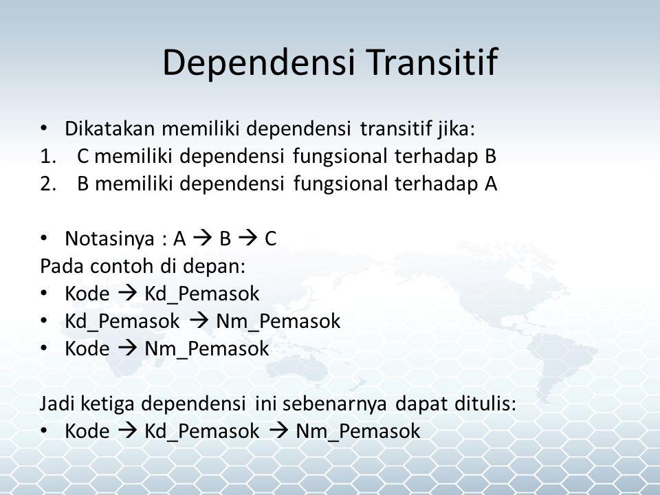 Dependensi Transitif Dikatakan memiliki dependensi transitif jika: 1.C memiliki dependensi fungsional terhadap B 2.B memiliki dependensi fungsional terhadap A Notasinya : A  B  C Pada contoh di depan: Kode  Kd_Pemasok Kd_Pemasok  Nm_Pemasok Kode  Nm_Pemasok Jadi ketiga dependensi ini sebenarnya dapat ditulis: Kode  Kd_Pemasok  Nm_Pemasok