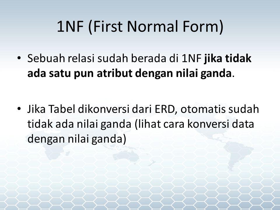 1NF (First Normal Form) Sebuah relasi sudah berada di 1NF jika tidak ada satu pun atribut dengan nilai ganda.
