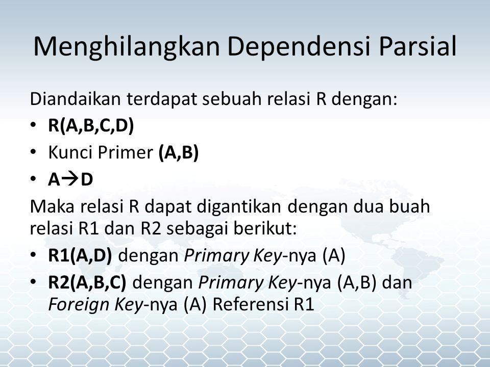 Menghilangkan Dependensi Parsial Diandaikan terdapat sebuah relasi R dengan: R(A,B,C,D) Kunci Primer (A,B) A  D Maka relasi R dapat digantikan dengan dua buah relasi R1 dan R2 sebagai berikut: R1(A,D) dengan Primary Key-nya (A) R2(A,B,C) dengan Primary Key-nya (A,B) dan Foreign Key-nya (A) Referensi R1