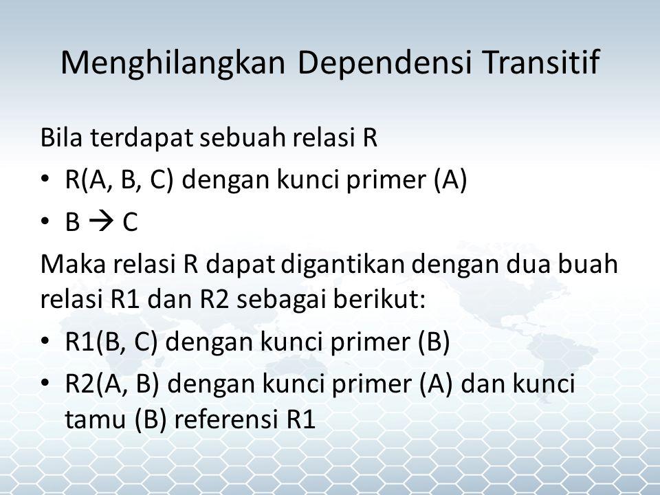 Menghilangkan Dependensi Transitif Bila terdapat sebuah relasi R R(A, B, C) dengan kunci primer (A) B  C Maka relasi R dapat digantikan dengan dua buah relasi R1 dan R2 sebagai berikut: R1(B, C) dengan kunci primer (B) R2(A, B) dengan kunci primer (A) dan kunci tamu (B) referensi R1