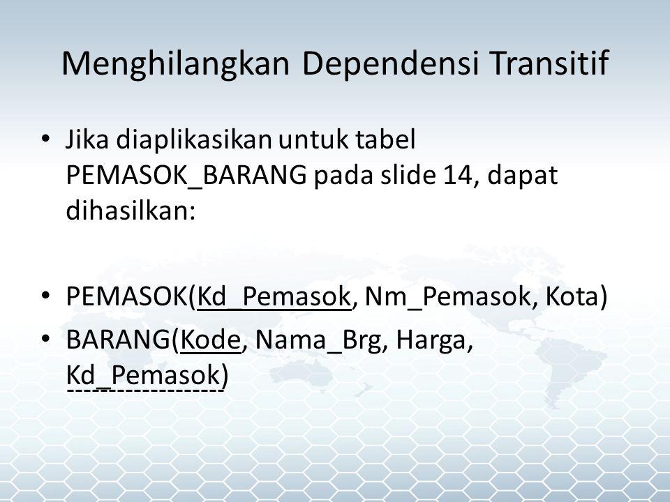 Jika diaplikasikan untuk tabel PEMASOK_BARANG pada slide 14, dapat dihasilkan: PEMASOK(Kd_Pemasok, Nm_Pemasok, Kota) BARANG(Kode, Nama_Brg, Harga, Kd_Pemasok) Menghilangkan Dependensi Transitif