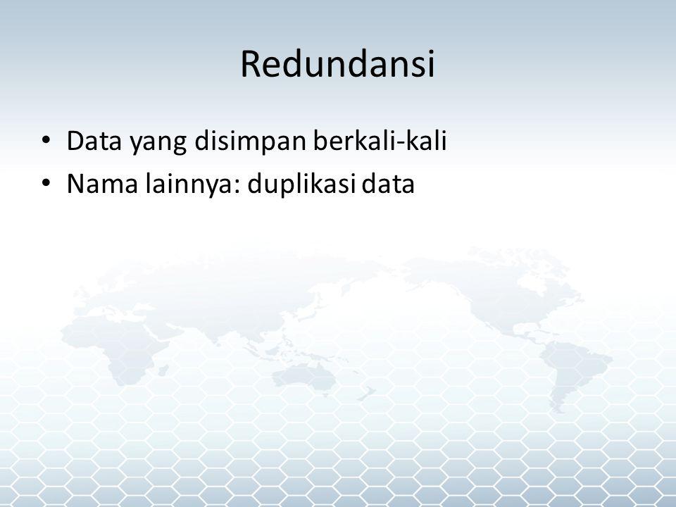 Redundansi Data yang disimpan berkali-kali Nama lainnya: duplikasi data