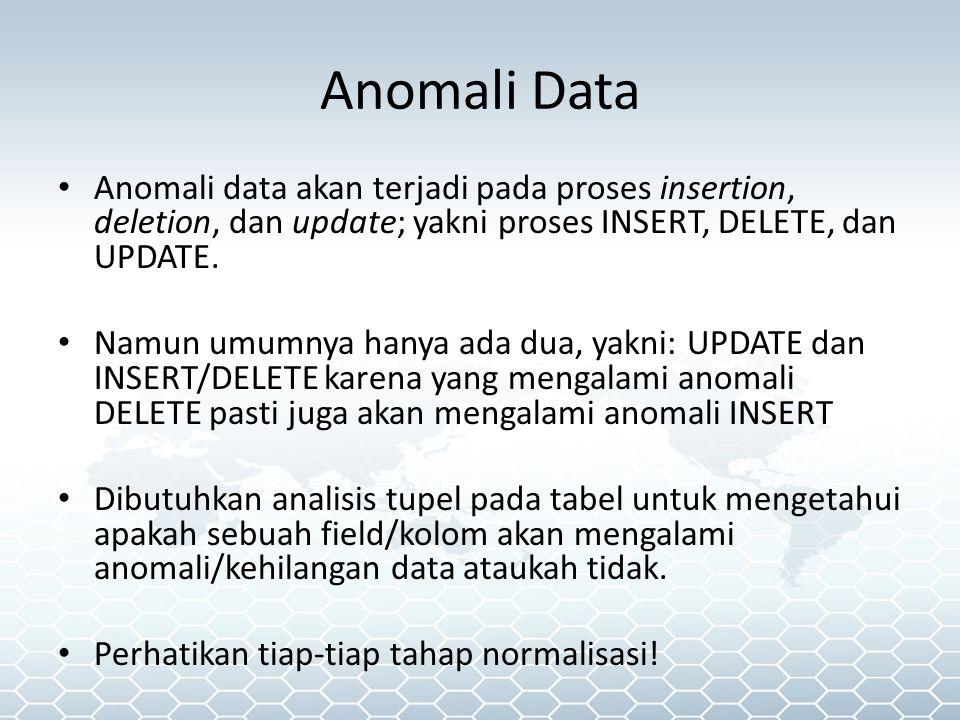Anomali Data Anomali data akan terjadi pada proses insertion, deletion, dan update; yakni proses INSERT, DELETE, dan UPDATE.