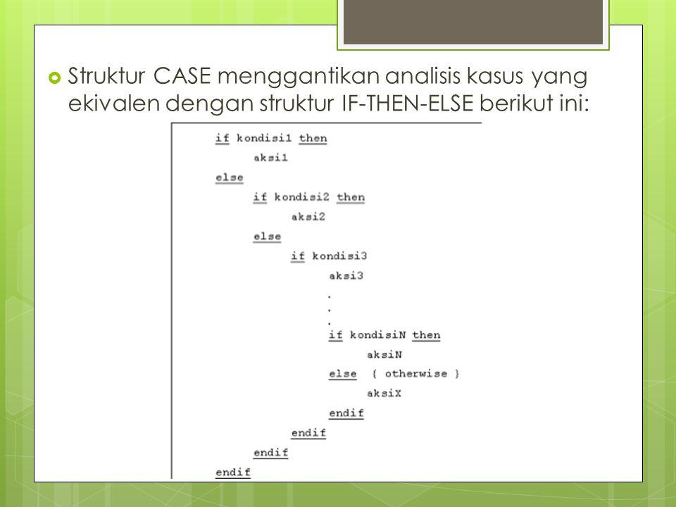  Struktur CASE menggantikan analisis kasus yang ekivalen dengan struktur IF-THEN-ELSE berikut ini: