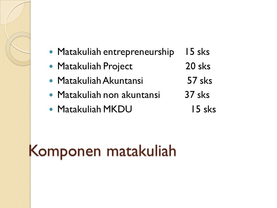 Komponen matakuliah Matakuliah entrepreneurship 15 sks Matakuliah Project 20 sks Matakuliah Akuntansi 57 sks Matakuliah non akuntansi 37 sks Matakuliah MKDU 15 sks