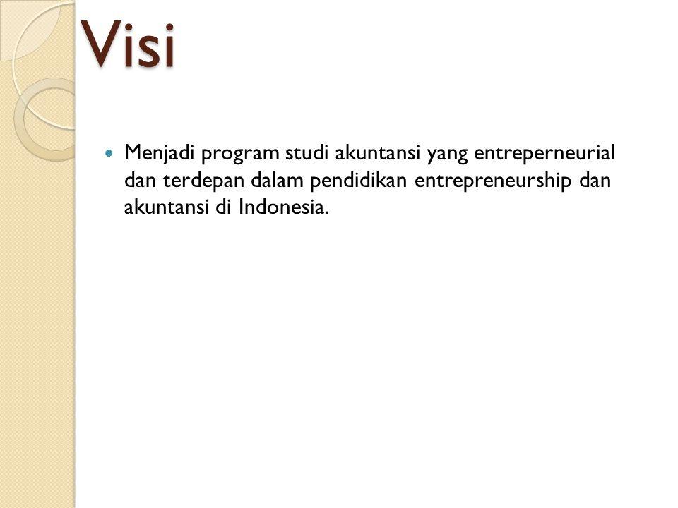Visi Menjadi program studi akuntansi yang entreperneurial dan terdepan dalam pendidikan entrepreneurship dan akuntansi di Indonesia.