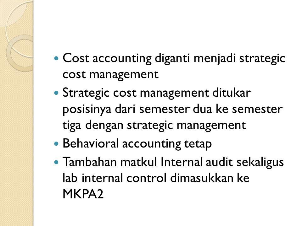 Cost accounting diganti menjadi strategic cost management Strategic cost management ditukar posisinya dari semester dua ke semester tiga dengan strate