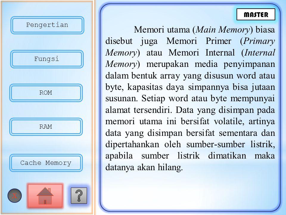 Memori utama (Main Memory) biasa disebut juga Memori Primer (Primary Memory) atau Memori Internal (Internal Memory) merupakan media penyimpanan dalam bentuk array yang disusun word atau byte, kapasitas daya simpannya bisa jutaan susunan.
