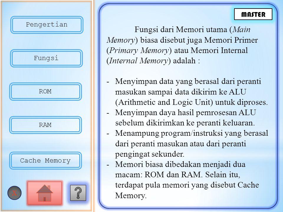 Fungsi dari Memori utama (Main Memory) biasa disebut juga Memori Primer (Primary Memory) atau Memori Internal (Internal Memory) adalah : -Menyimpan data yang berasal dari peranti masukan sampai data dikirim ke ALU (Arithmetic and Logic Unit) untuk diproses.