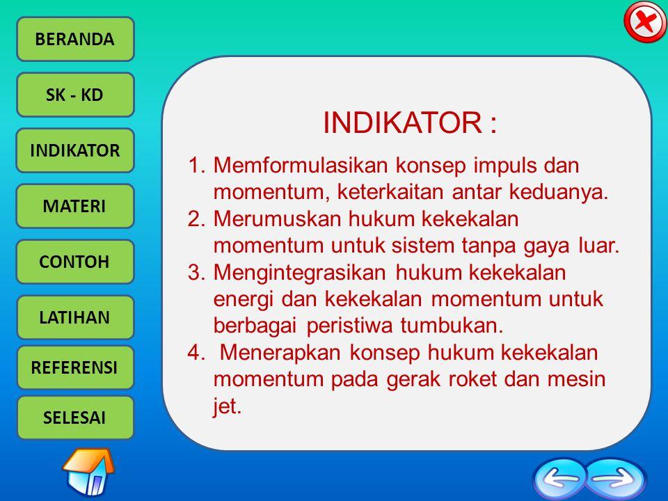 BERANDA SK - KD INDIKATOR MATERI CONTOH LATIHAN REFERENSI SELESAI INDIKATOR : 1.Memformulasikan konsep impuls dan momentum, keterkaitan antar keduanya