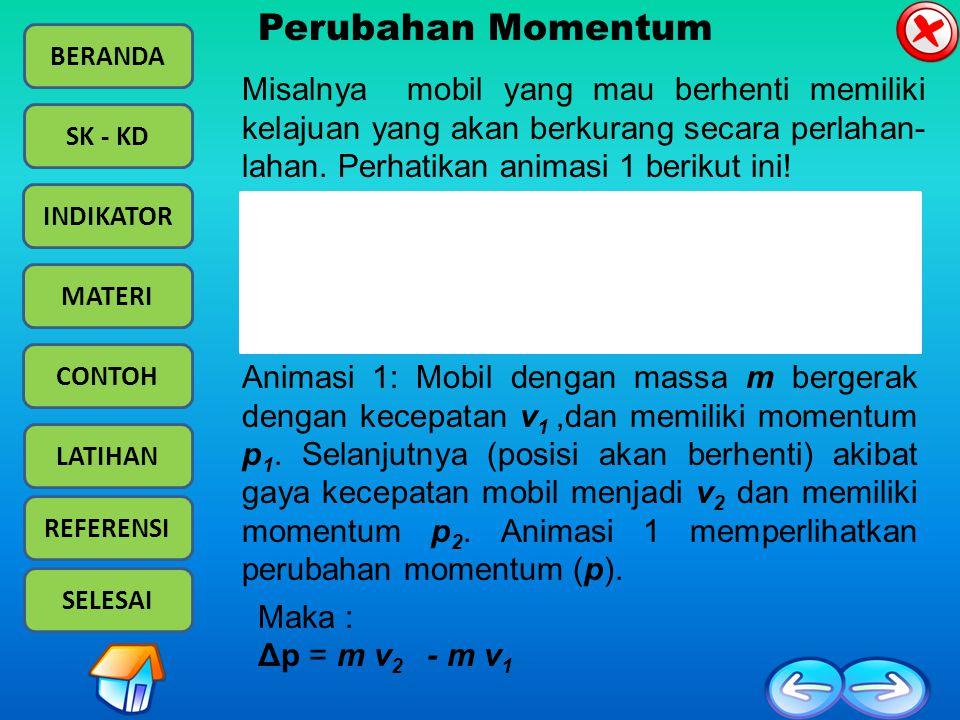 BERANDA SK - KD INDIKATOR MATERI CONTOH LATIHAN REFERENSI SELESAI Impuls adalah perubahan momentum : (F  t =  p=  (mv)): Sehingga, gaya roket akan menjadi Hukum kekekalan momentum pada roket, yaitu: