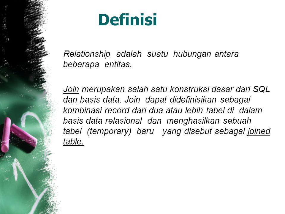 Definisi Relationship adalah suatu hubungan antara beberapa entitas. Join merupakan salah satu konstruksi dasar dari SQL dan basis data. Join dapat di