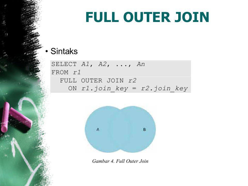 Jenis-jenis Join 3.Cross Join Cross join pada hakekatnya merupakan inner join di mana kondisi join selalu dievaluasi true.