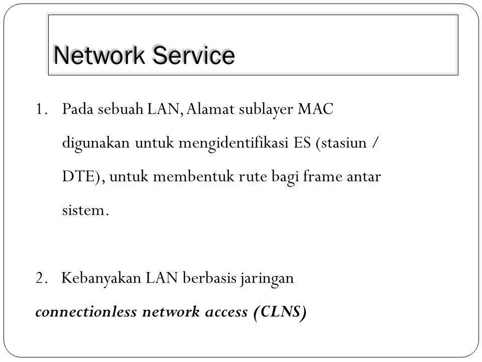 Network Service 1.Pada sebuah LAN, Alamat sublayer MAC digunakan untuk mengidentifikasi ES (stasiun / DTE), untuk membentuk rute bagi frame antar sistem.