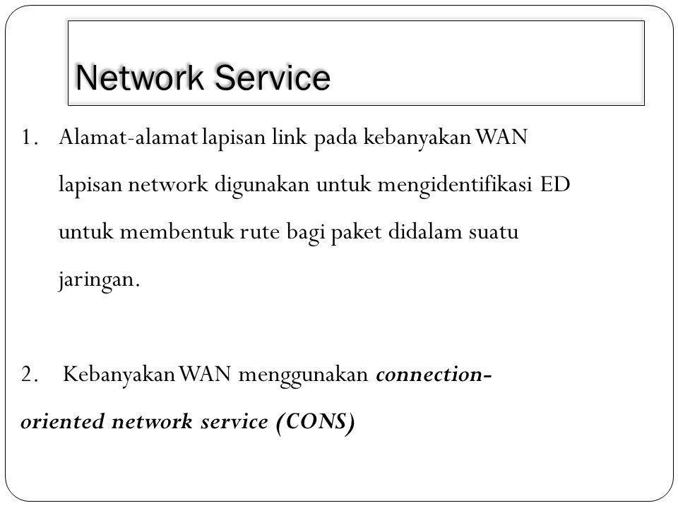 Network Service 1.Alamat-alamat lapisan link pada kebanyakan WAN lapisan network digunakan untuk mengidentifikasi ED untuk membentuk rute bagi paket didalam suatu jaringan.
