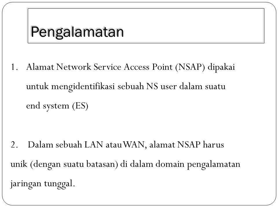 Pengalamatan 1.Alamat Network Service Access Point (NSAP) dipakai untuk mengidentifikasi sebuah NS user dalam suatu end system (ES) 2.