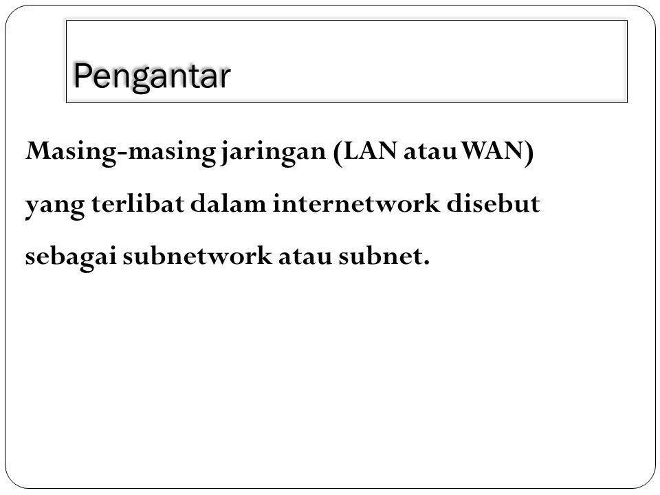 Pengantar Masing-masing jaringan (LAN atau WAN) yang terlibat dalam internetwork disebut sebagai subnetwork atau subnet.