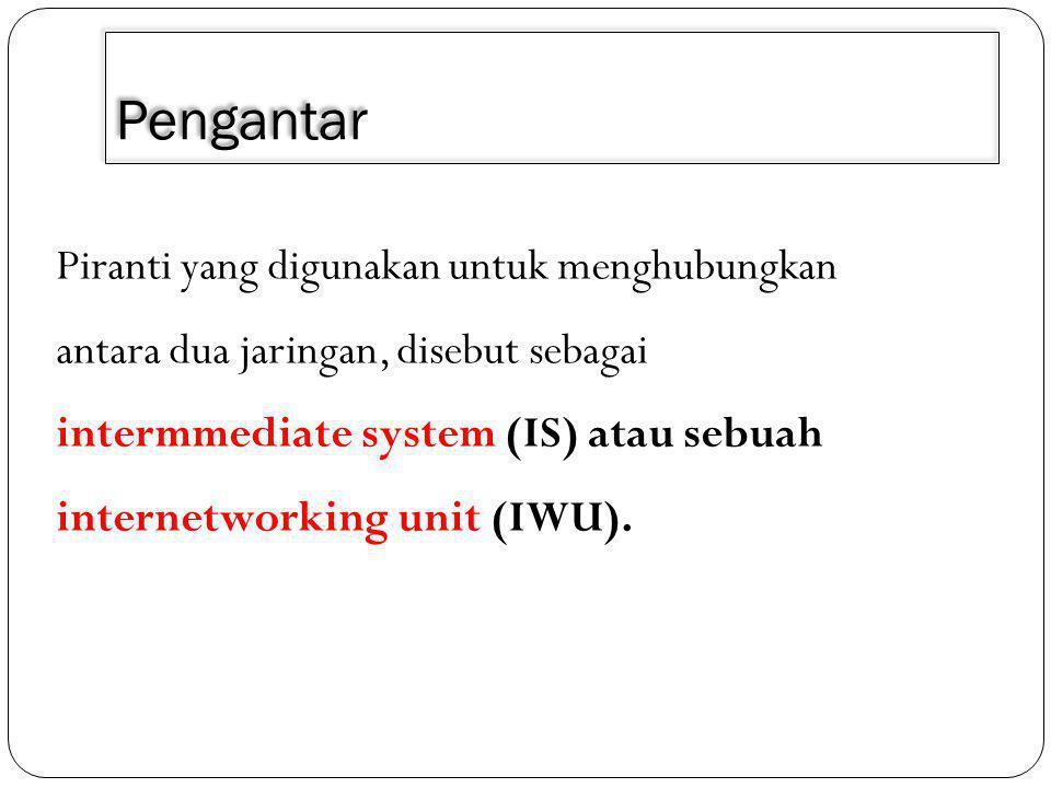 Pengantar Piranti yang digunakan untuk menghubungkan antara dua jaringan, disebut sebagai intermmediate system (IS) atau sebuah internetworking unit (IWU).