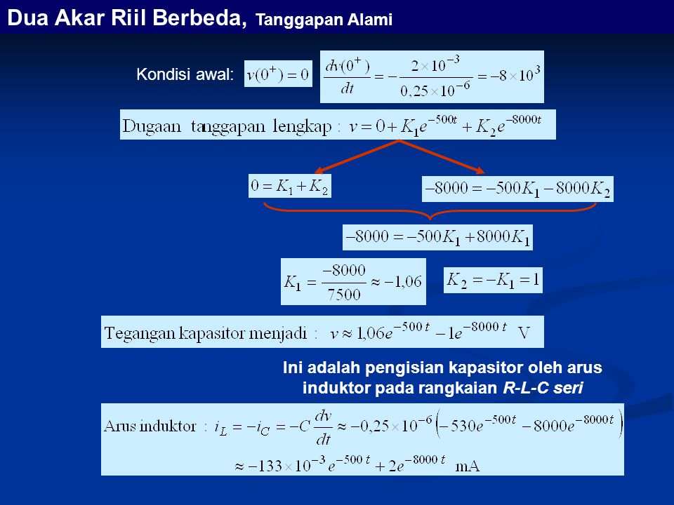 Ini adalah pengisian kapasitor oleh arus induktor pada rangkaian R-L-C seri Kondisi awal: Dua Akar Riil Berbeda, Tanggapan Alami