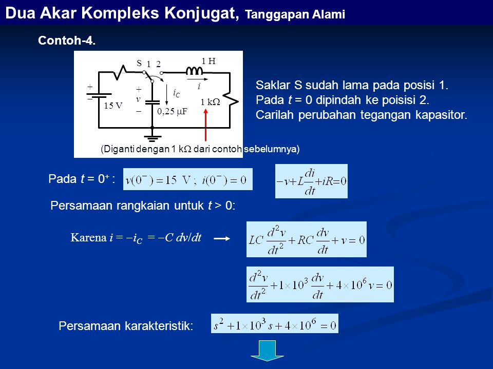 Dua Akar Kompleks Konjugat, Tanggapan Alami Contoh-4. Persamaan rangkaian untuk t > 0: Karena i =  i C =  C dv/dt (Diganti dengan 1 k  dari contoh