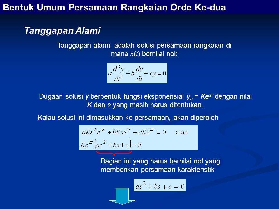 Persamaan karakteristik yang berbentuk persamaan kwadrat itu mempunyai dua akar yaitu Dengan adanya dua akar tersebut maka kita mempunyai dua solusi homogen, yaitu dan tanggapan alami yang kita cari akan berbentuk Bentuk Umum Persamaan Rangkaian Orde Ke-dua Seperti halnya pada rangkaian orde pertama, tetapan-tetapan ini diperoleh melalui penerapan kondisi awal pada tanggapan lengkap
