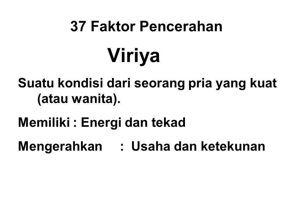 37 Faktor Pencerahan Viriya Suatu kondisi dari seorang pria yang kuat (atau wanita).