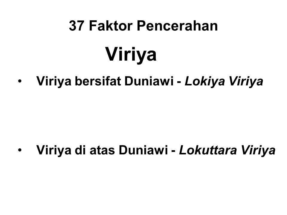 37 Faktor Pencerahan Viriya Viriya bersifat Duniawi - Lokiya Viriya Generosity, morality, etc. Benefits within Samsara. Supporting the Supramundane Pa