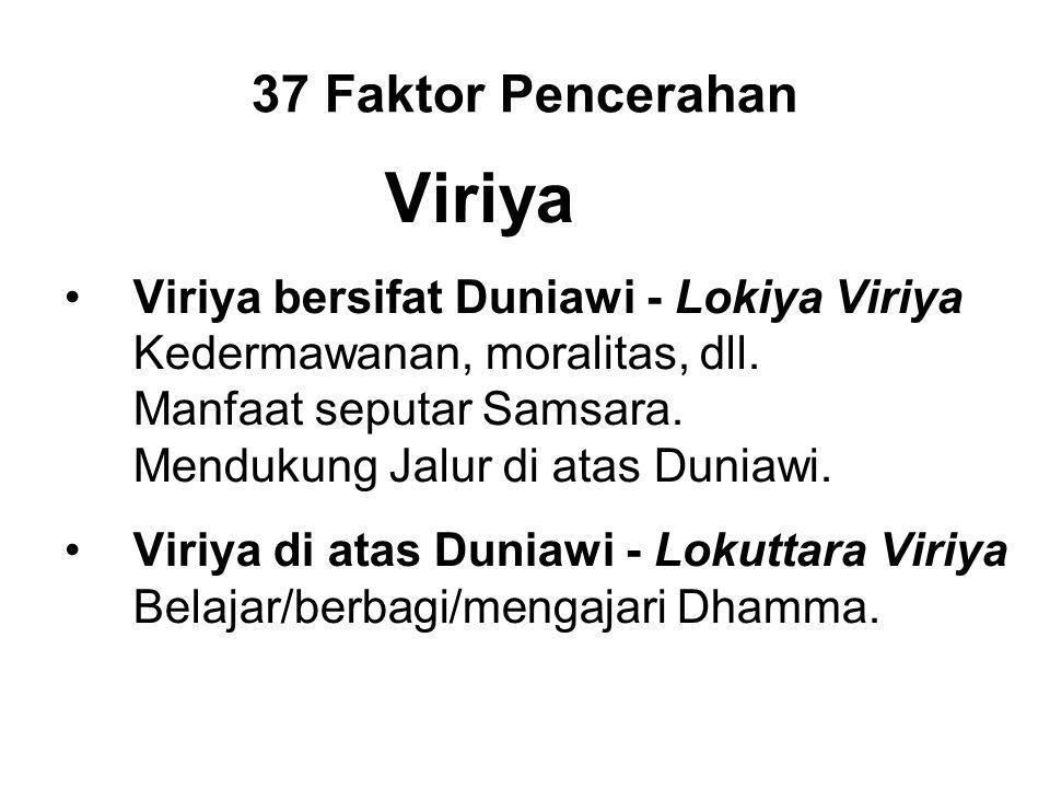 37 Faktor Pencerahan Viriya Viriya bersifat Duniawi - Lokiya Viriya Kedermawanan, moralitas, dll.