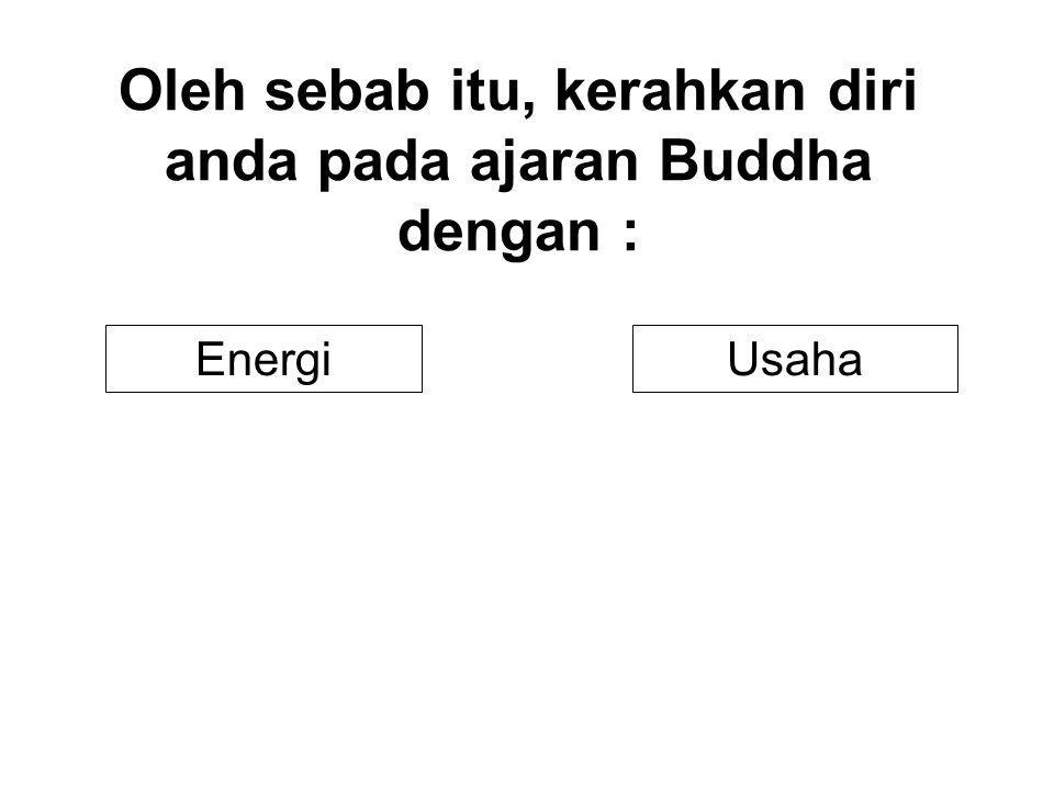 Oleh sebab itu, kerahkan diri anda pada ajaran Buddha dengan : UsahaEnergi
