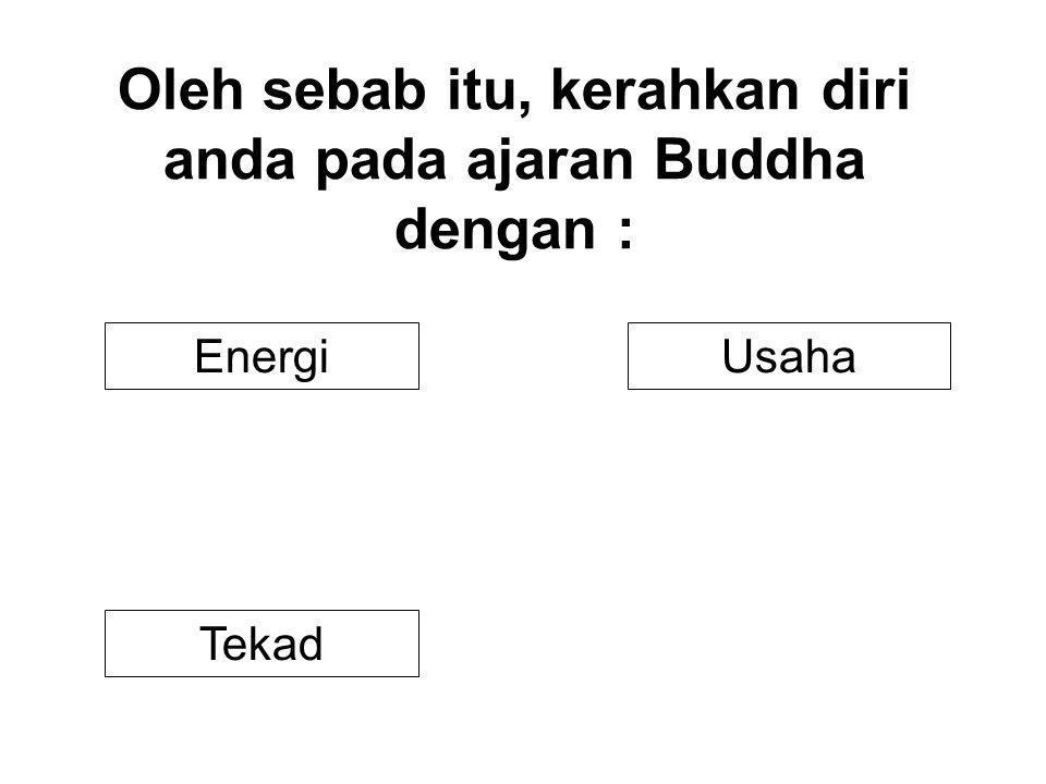 Oleh sebab itu, kerahkan diri anda pada ajaran Buddha dengan : UsahaEnergi Tekad