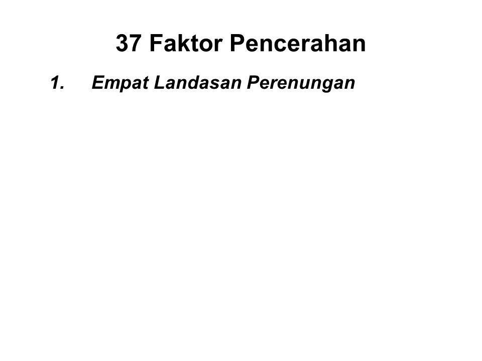 37 Faktor Pencerahan 1.Empat Landasan Perenungan I.Mindfulness of the body - Sati II.Mindfulness of feelings - Sati III.Mindfulness of consciousness - Sati IV.Mindfulness of the Dhamma - Sati