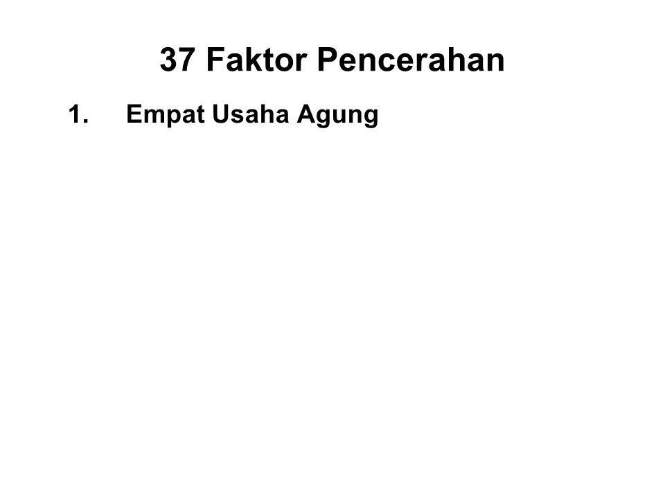 37 Faktor Pencerahan 1.Empat Usaha Agung I.Effort for the non-arising of unwholesome states - Viriya II.Effort for the abandoning of unwholesome states - Viriya III.Effort for the arising of wholesome states - Viriya IV.Effort for the sustaining of wholesome states - Viriya