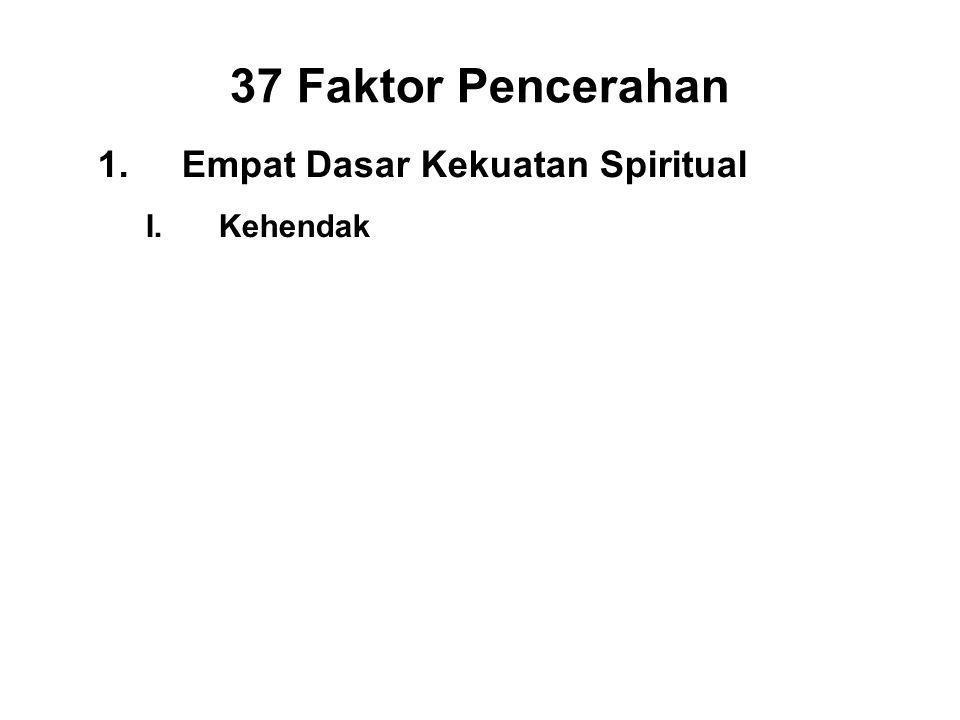 37 Faktor Pencerahan 1.Empat Dasar Kekuatan Spiritual I.Kehendak - Chanda II.Energy - Viriya III.Consciousness - Citta IV.Discernment - Panna