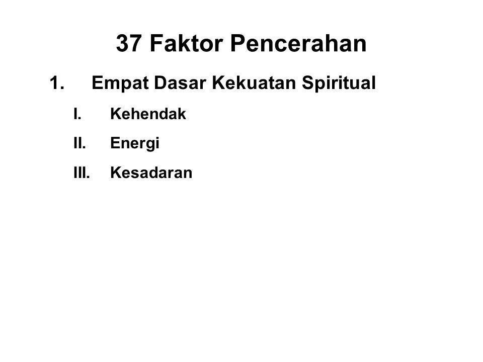 37 Faktor Pencerahan 1.Empat Dasar Kekuatan Spiritual I.Kehendak - Chanda II.Energi - Viriya III.Kesadaran - Citta IV.Discernment - Panna