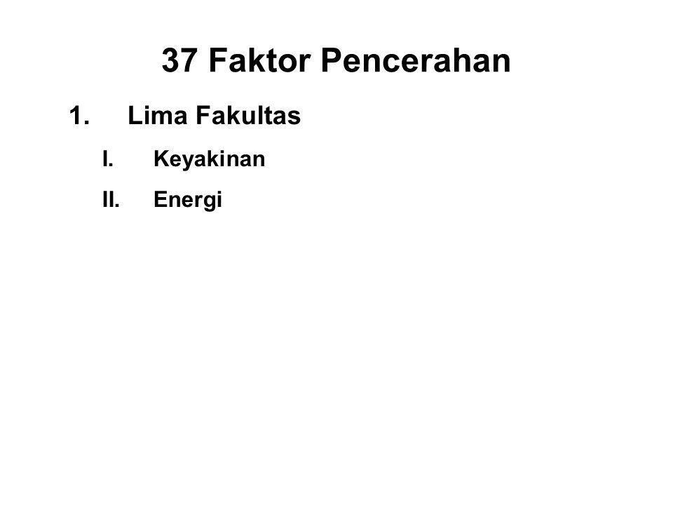 37 Faktor Pencerahan 1.Lima Fakultas I.Keyakinan - Saddha II.Energi - Viriya III.Mindfulness - Sati IV.Concentration - Ekagatta V.Wisdom - Panna