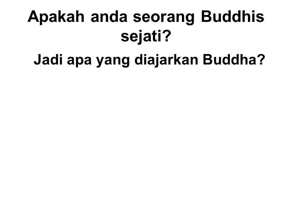 Apakah anda seorang Buddhis sejati. Jadi apa yang diajarkan Buddha.