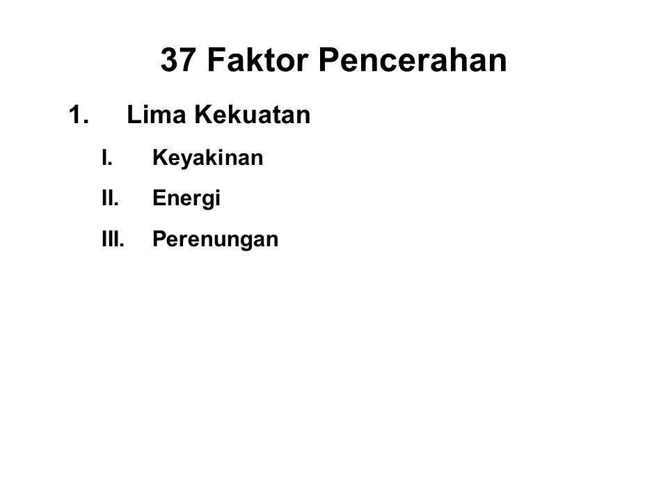 37 Faktor Pencerahan 1.Lima Kekuatan I.Keyakinan - Saddha II.Energi - Viriya III.Perenungan - Sati IV.Concentration - Ekagatta V.Wisdom - Panna