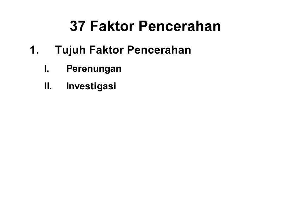 37 Faktor Pencerahan 1.Tujuh Faktor Pencerahan I.Perenungan - Sati II.Investigasi - Panna III.Energy - Viriya IV.Joy - Piti V.Tranquillity - Passaddhi VI.Concentration - Ekagatta VII.Equanimity - Upekkha