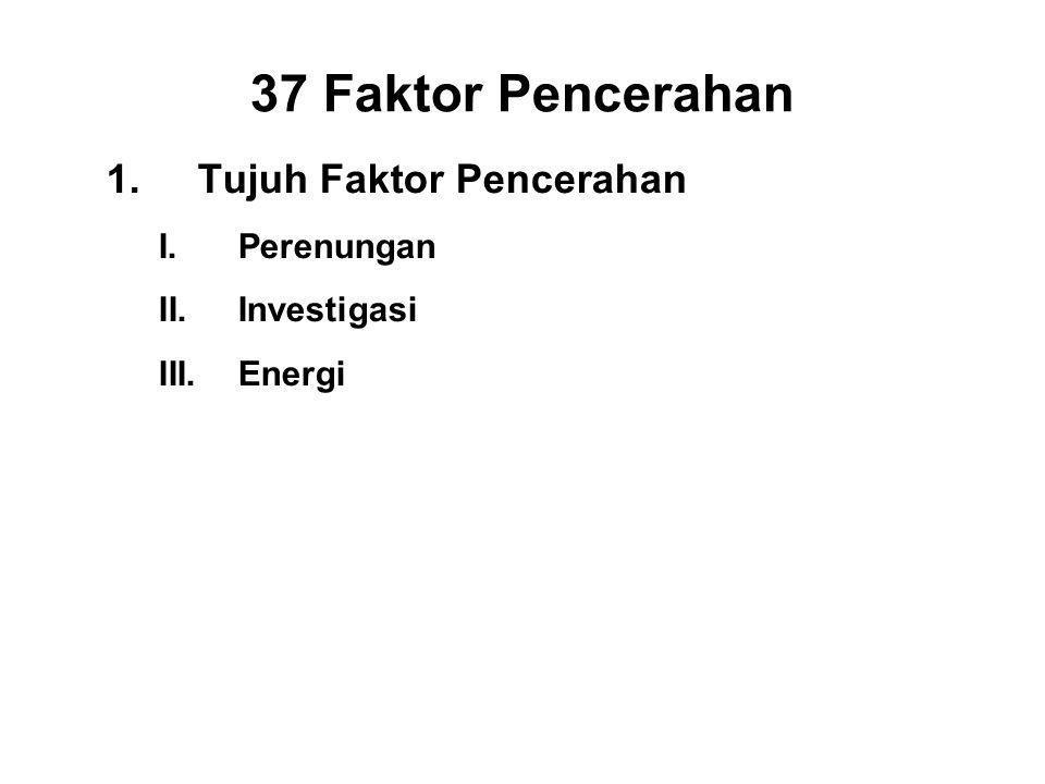37 Faktor Pencerahan 1.Tujuh Faktor Pencerahan I.Perenungan - Sati II.Investigasi - Panna III.Energi - Viriya IV.Joy - Piti V.Tranquillity - Passaddhi VI.Concentration - Ekagatta VII.Equanimity - Upekkha