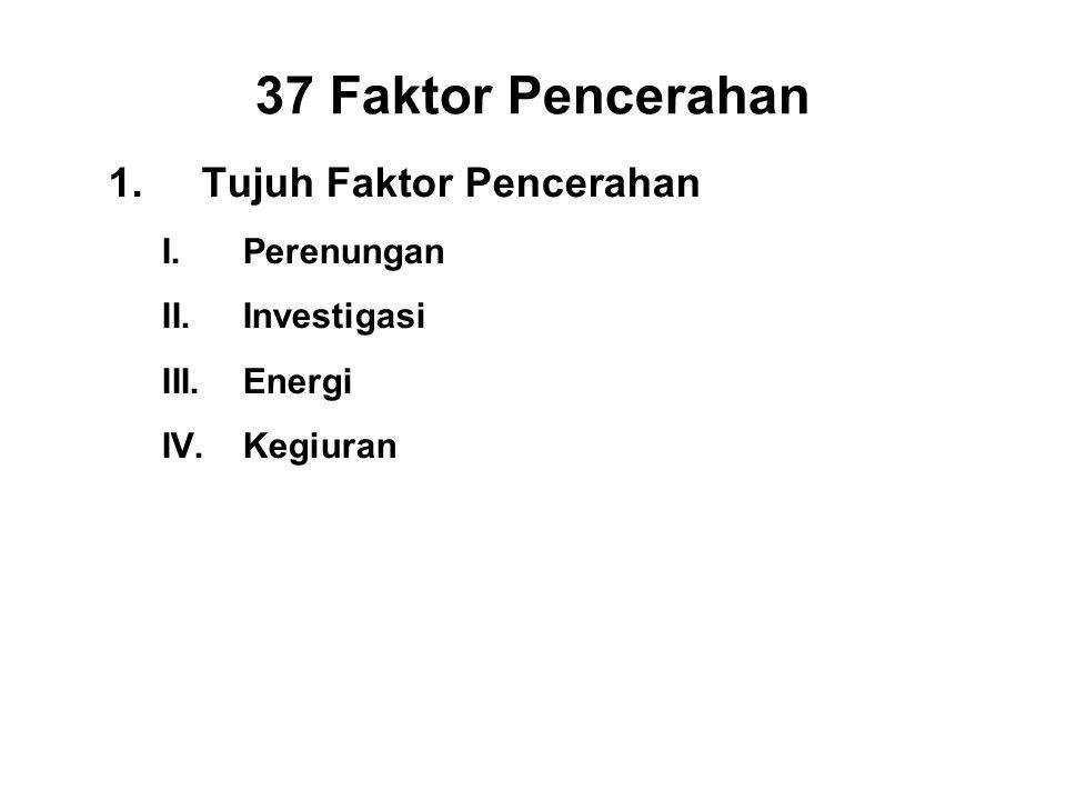 37 Faktor Pencerahan 1.Tujuh Faktor Pencerahan I.Perenungan - Sati II.Investigasi - Panna III.Energi - Viriya IV.Kegiuran - Piti V.Tranquillity - Pass