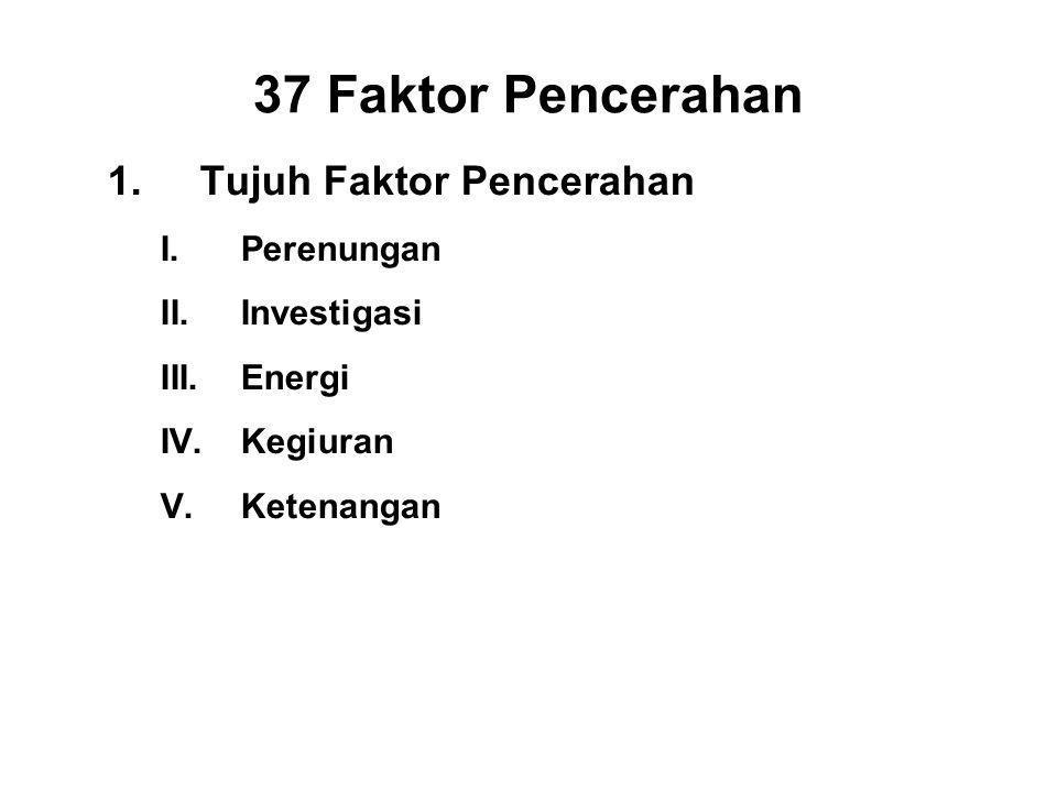 37 Faktor Pencerahan 1.Tujuh Faktor Pencerahan I.Perenungan - Sati II.Investigasi - Panna III.Energi - Viriya IV.Kegiuran - Piti V.Ketenangan - Passad