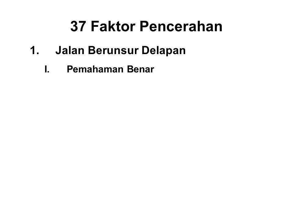37 Faktor Pencerahan 1.Jalan Berunsur Delapan I.Pemahaman Benar - Panna II.Right Thought - Vitakka III.Right Speech - Samma vacca IV.Right Action - Samma kammanta V.Right Livelihood - Samma ajiva VI.Right Effort - Viriya VII.Right Mindfulness - Sati VIII.Right Concentration - Ekagatta