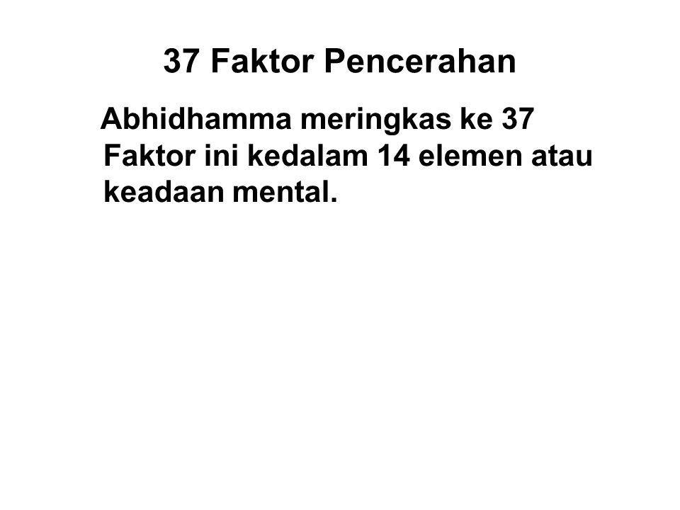 37 Faktor Pencerahan Abhidhamma meringkas ke 37 Faktor ini kedalam 14 elemen atau keadaan mental.