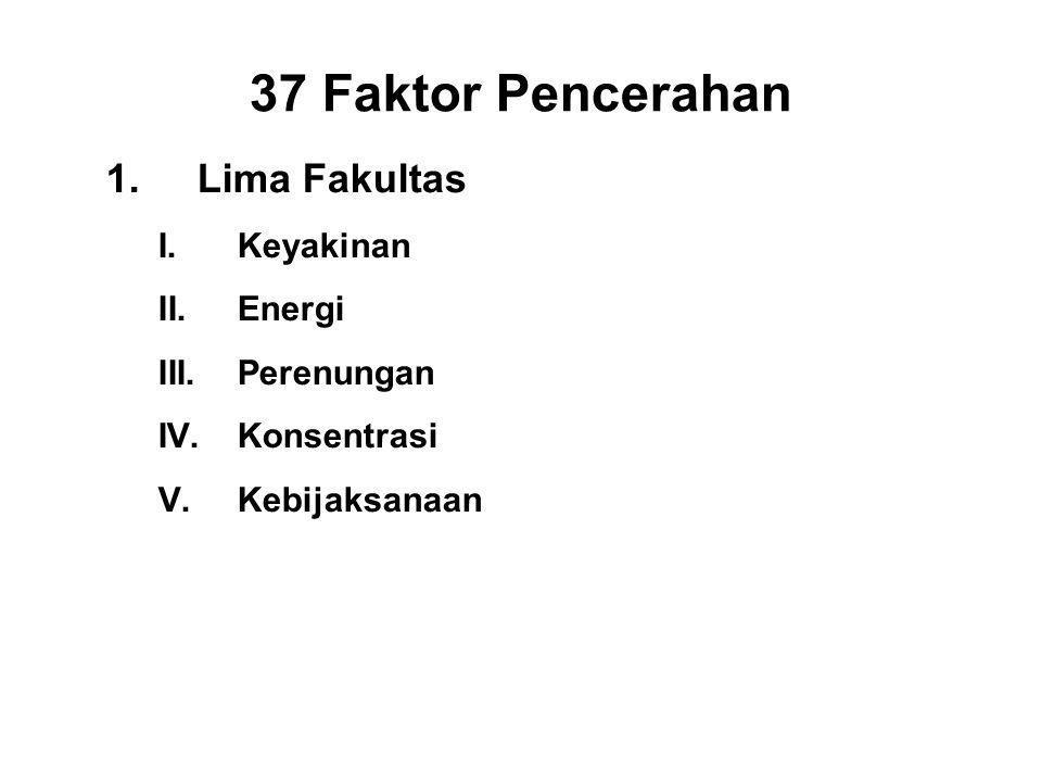 37 Faktor Pencerahan 1.Lima Fakultas I.Keyakinan - Saddha II.Energiiriya III.Perenungan - Sati IV.Konsentrasi - Ekagatta V.Kebijaksanaan - Panna