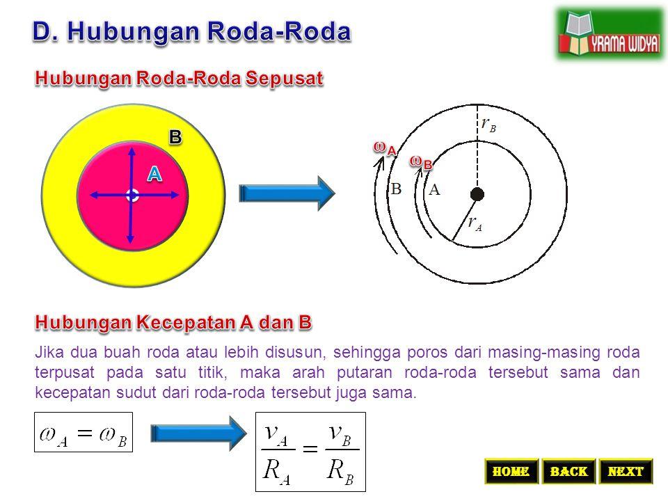 Jika dua buah roda atau lebih disusun, sehingga poros dari masing-masing roda terpusat pada satu titik, maka arah putaran roda-roda tersebut sama dan