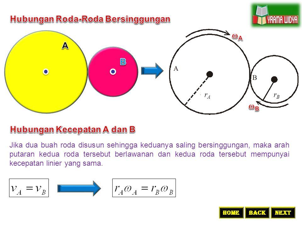 rArA rBrB Jika dua buah roda disusun sehingga keduanya saling bersinggungan, maka arah putaran kedua roda tersebut berlawanan dan kedua roda tersebut
