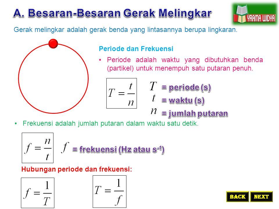Gerak melingkar adalah gerak benda yang lintasannya berupa lingkaran. BACKNEXT Periode dan Frekuensi Periode adalah waktu yang dibutuhkan benda (parti